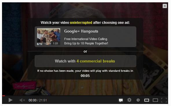 YouTube Commercial Break